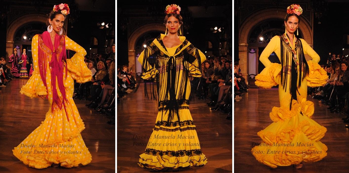 Traje flamenca negro y amarillo