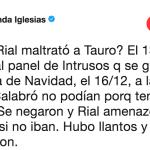 Fernanda Iglesias se metió en la pelea Marcela Tauro y Rial