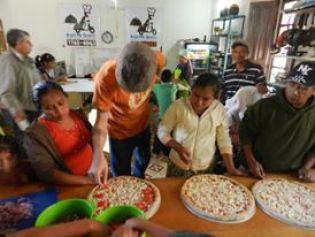 Las cocinas de Aquí me quedo en Quetzaltenango.