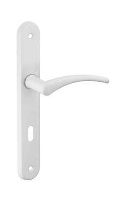 ensemble poignee de porte hebe blanche a cle entraxe 165 mm thirard
