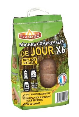 Buches De Bois Compressees De Jour Par 6 Flamino 1107974 Chauffage Climatisation L Entrepot Du Bricolage