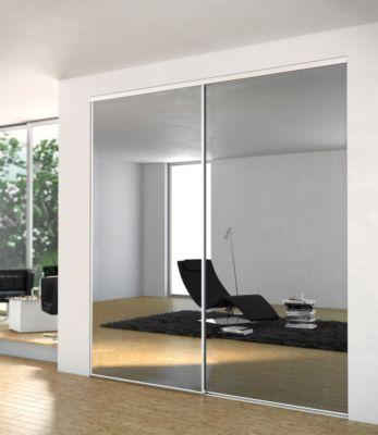 Porte Miroir Argente Profil Blanc Hauteur 2500 X Largeur 914 Mm Ykario 1033701 Menuiserie Rangement L Entrepot Du Bricolage