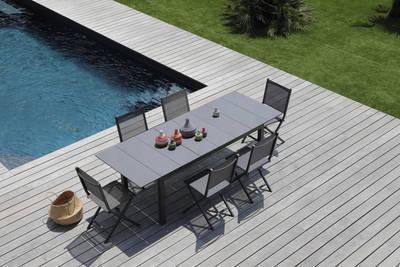 table de jardin avec rallonge tahaa l180 ou l240 x l90 aluminium et bois grise pro loisirs