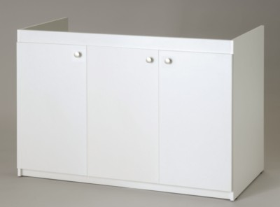 meuble sous evier blanc 3 portes l 1200 x h 820 x p 570 mm