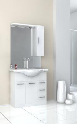 Meuble De Salle De Bain Avec Vasque Et Miroir Eva Blanc 850 Mm Baden Haus 465747 Salle De Bains L Entrepot Du Bricolage