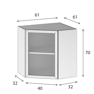 caisson cuisine haut d angle blanc l 600 x h 700 mm ofitres