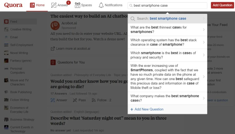 How businesses are using Quora to perform content research