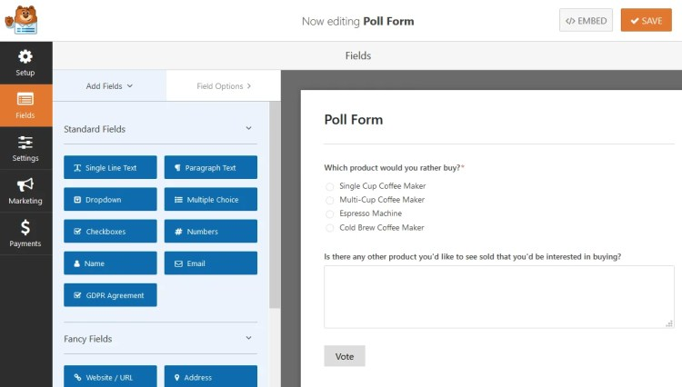 How to create a poll form for testing new ecommerce product idea