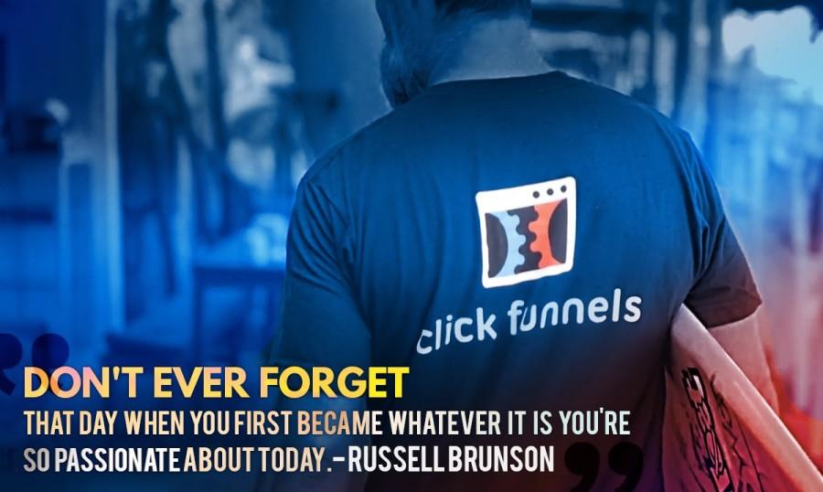 Clickfunnels Russel Brunson using branded t-shirt as one of their offline marketing strategies