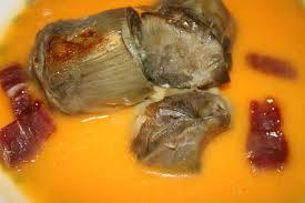 Alcachofas con crema de acelgas