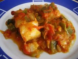 Bacalao con Pimiento y salsa de Tomate