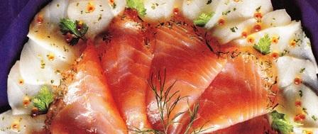Carpaccio de bacalao y salmón