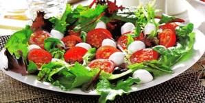 Ensalada de tomate, mozzarrela y lechugas variadas