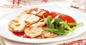 Lomo con salsa de fresas y manzana