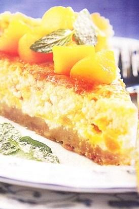 Torta de ricota con duraznos