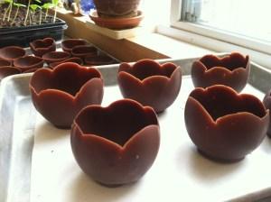 copas de chocolate con globos