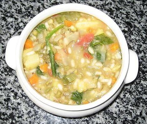 Potaje de soja, calabaza y acelgas
