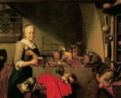 """Jan Josef Horemans (s. XVIII), """"La Cocinera"""". Escena de la vida cotidiana en la cocina de un antiguo hogar europeo."""
