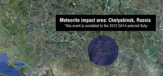 Área del impacto del meteorito. (Imagen: Google Earth, NASA/JPL-Caltech)