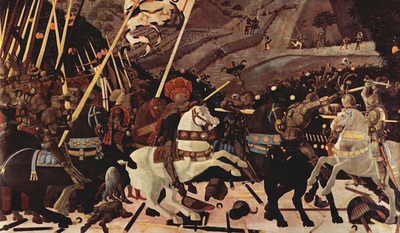 """""""La batalla de San Romano"""" (tríptico) episodio:  """"Nicolás de Tolentino liderando a los florentinos"""", 1440, National Gallery, Londres."""