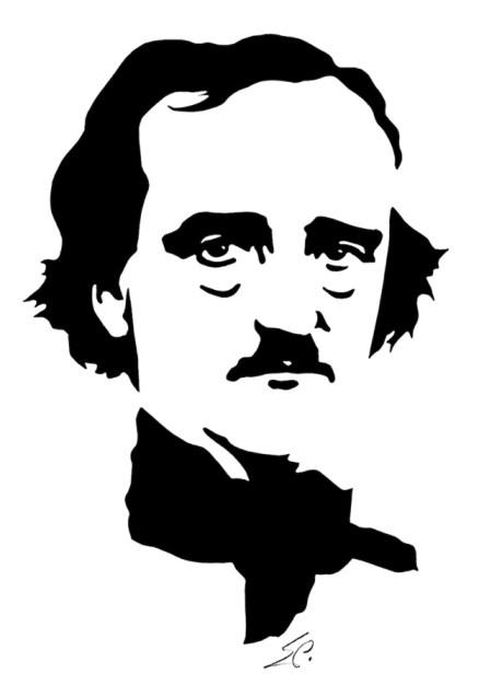 Edgar Allan Poe. Grabado al Linóleo © Eduard Prüssen. Colección Museo y Biblioteca Morgan, NY.