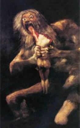 """Francisco de Goya (1746-1828): """"Saturno devora a su hijo"""". Recrea la leyenda de Saturno, dios del tiempo: para no ser destronado, decide comerse a sus hijos. Desesperado y crispado, con los ojos fuera de sus órbitas y las manos ensangrentadas, devora el frágil cuerpo del hijo. Un cuadro que sobrecoge por su crueldad. La sensación de horror se acentúa con la oscuridad del fondo."""
