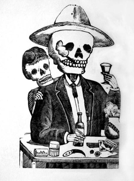 Lo opuesto a una supuesta representación provechosa del alcohol podemos ubicarlo en los retratos del dibujante mexicano Posada. Con idea tan metafórica como educativa, para él beber es vestíbulo del autoaniquilamiento. (Posada y las calaveras vivientes, en Enciclope. de la Psicol. y la Pedago., Sedmay.Lidis)