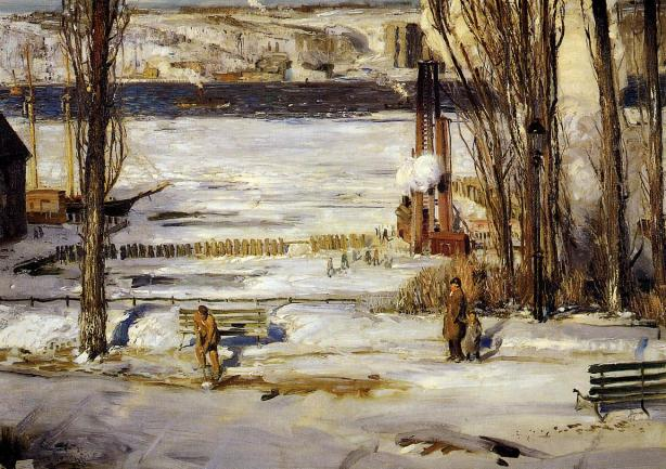1910 A Morning Snow - Hudson River oil on canvas 114.6 x 160.7 cm