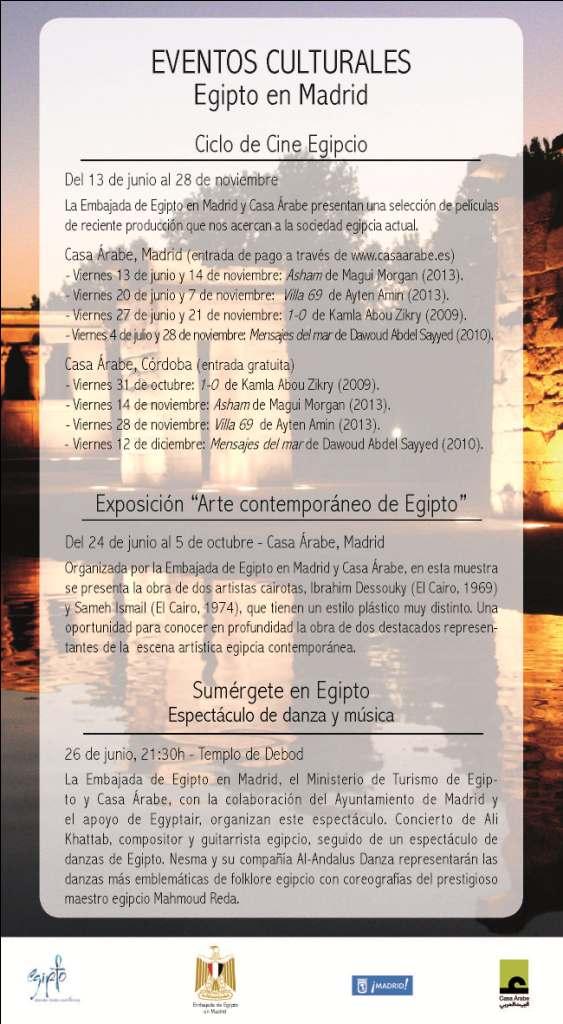 Programa eventos culturales Egipto