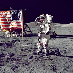 Cernan Jump Salutes Flag