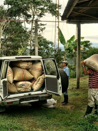Stucking the car with Coffee sacks