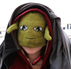 Kally cosplaying as Yoda