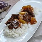 Cocina ligera , escalopines en salsa agridulce, ricos y sanos