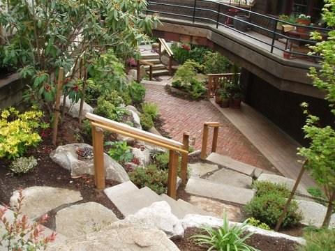Landscape Ideas Railings | Wooden Handrail For Garden Steps | French Door Garden | Garden Stair | Landscape | Outside Step | Outdoor Near Me Step