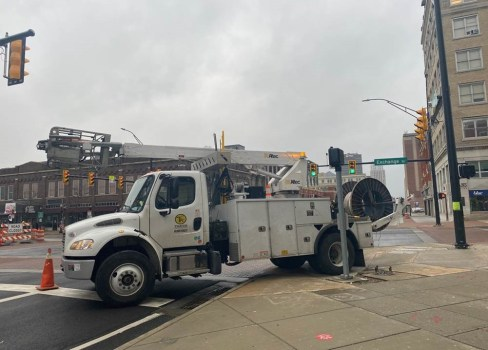 cable placement truck preparing to install fiber