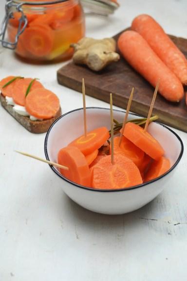Pickles de carottes au vinaigre de gingembre