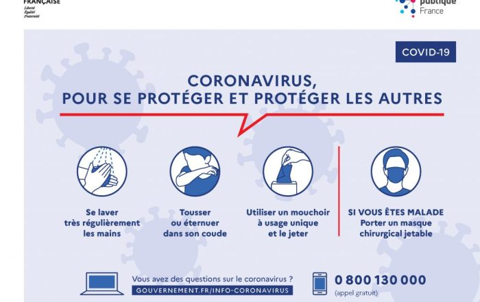 Recommandatons gestes barrière Coronavirus France