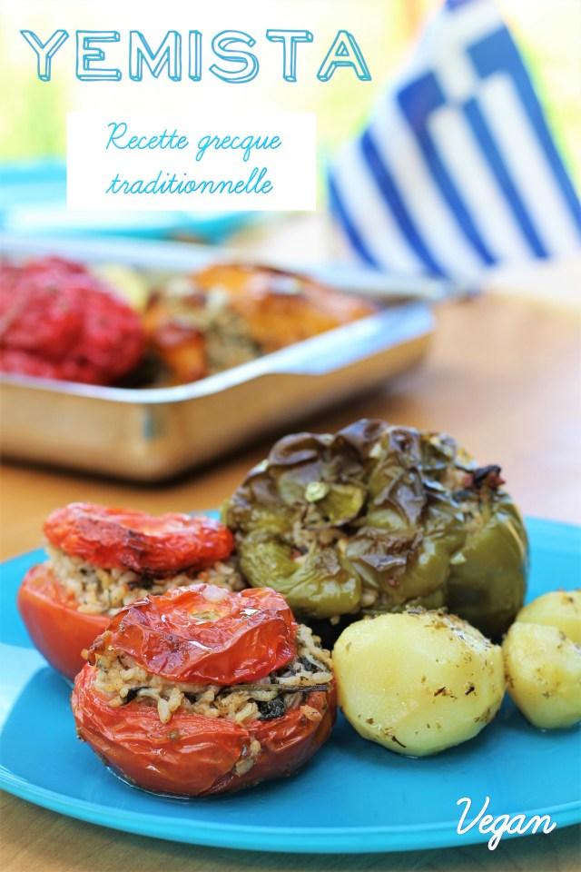 Yemista, recette grecque traditionnelle de tomates et poivrons farcis (vegan)