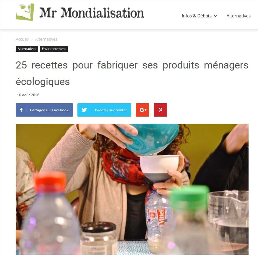 Mr Mondialisation : 25 recettes pour fabriquer ses produits ménagers écologiques