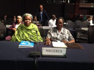 Environment Minister, Laurentia Mallam (right), with the Permanent Secretary in the Federal Ministry of Environment, Rabi Jimeta, during the 5th GEF Assembly in Cancun, Mexico. Behind them is Assistant Director and GEF Desk Officer, Halima Kolo Mohammed  UN to tackle Nigeria desertification photo 300x224