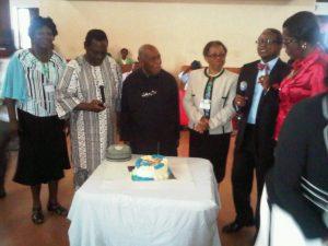 Prof Emeritus David Okali celebrating his birthday during the symposium