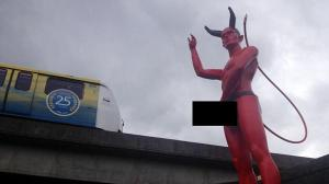 Statan's statue  Mysterious statue of Satan with a massive erection appears in city Statans statue 300x168