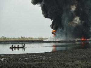 Bodo oil spill and fire. Photo: Leigh Day