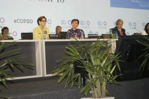 Susana Villaran (Mayor of Lima) (left), Christiana Figueres (Executive Secretary of the UNFCCC) (middle) and Manuel Pulgar-Vidal (COP 20 President & Peruvian Environment Minister)  Lima COP 20 opening ceremony in pictures Fig 300x199