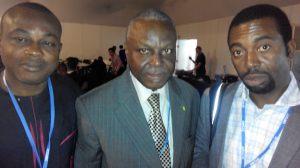 Chinedu Uwaegbulam (The Guardian newspaper) (left), Prince Lekan Fadina (CISME) (middle) and Ochuko Odibo  Nigerian delegation to Lima COP 20 in photos IMG 20141208 091212 300x168