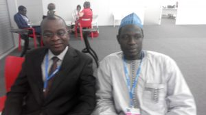 Prof. Francis Adesina (Obafemi Awolowo University, Ile-Ife) (left) with Aliyu Musa Yauri (Assistant Director, DCC)  Nigerian delegation to Lima COP 20 in photos IMG 20141209 162642 300x168