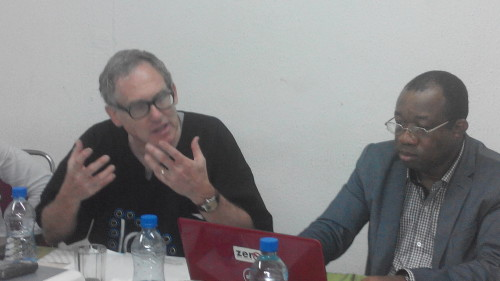 President, World Alliance for Mercury-Free Dentistry, Charles Brown (left); with executive director, SRADev Nigeria, Leslie Adogame, during the NGO Strategy Meeting in Lagos