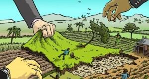 Land grab  'Land grabbing prevalent in food insecure countries' land grab polyp cartoon   no border e1438235413234