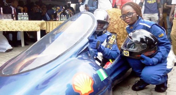 Delta Cruz on display... Students of the Federal University of Petroleum Resources, Effurun, Delta State, demonstrating their self-build energy efficient car on their campus last Thursday in readiness for the 2015 Shell Eco-marathon competition in South Africa, in October.  Photos: FUPRE students unveil self-built, energy-efficient car Eco Marathon Car 1 e1442771739489