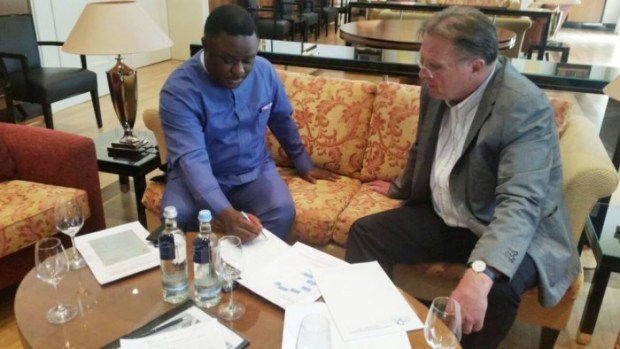 Gov. Ben Ayade signing the quality control deal for the Calabar-Ikom-Ogoja-Obudu super highway in Germany  Controversy rocks 'environment-unfriendly' Calabar highway project Governor Ayade in germany e1442765189303
